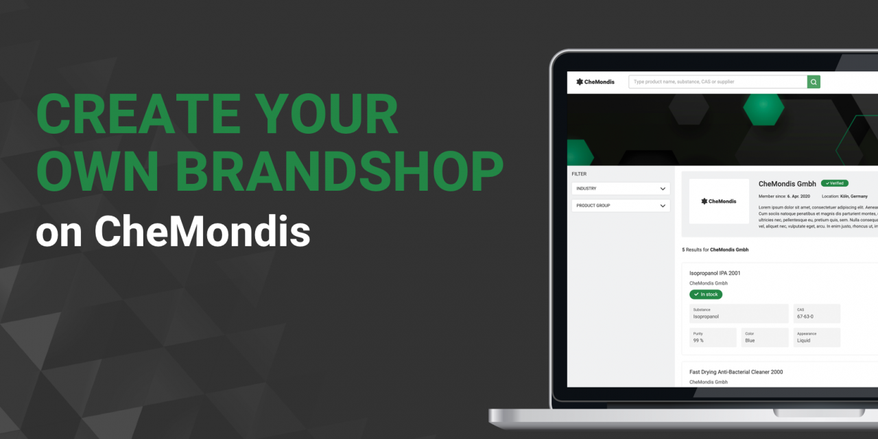 Suppliers Can Now Create Their Own Brand Shop on CheMondis